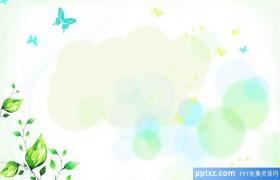 Painted green flowers and plants quietly PPT background pictures