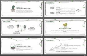 简单卡通绿色盆景植物PPT模板下载
