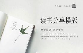 简单书籍枫叶背景PPT模板下载