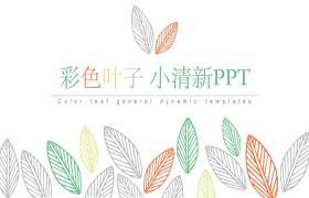 彩色、简洁、清新的叶子图案的PPT模板