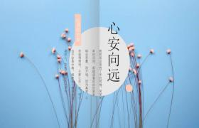 蓝色清新风格红色花卉点缀杂志风格PPT模板