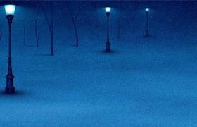冬季路灯下的雪景ppt模板