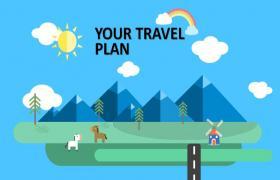 卡通矢量旅行安排的PPT模板下载