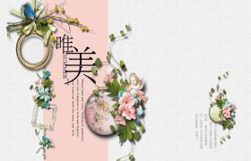 唯美花卉背景的复古艺术风格PPT模板下载