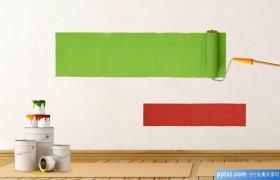 家居装修粉刷油漆涂料背景的PPT模板