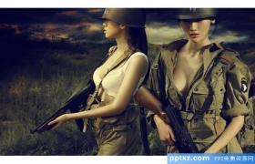 二战女兵军事PPT模板