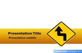 交通黄色警示PPt模板