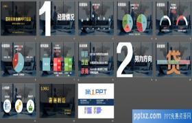 黑灰色背景金融银行信货PPT模板下载下载
