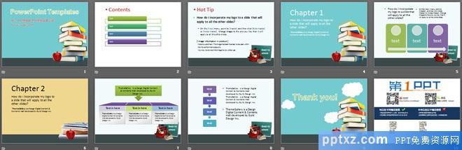 书籍课本苹果背景教育<a href=http://www.pptxz.com target=_blank class=infotextkey>PPT模板</a>