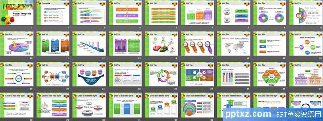 绿绿色蔬菜背景的食品<a href=http://www.pptxz.com target=_blank class=infotextkey>PPT模板</a>
