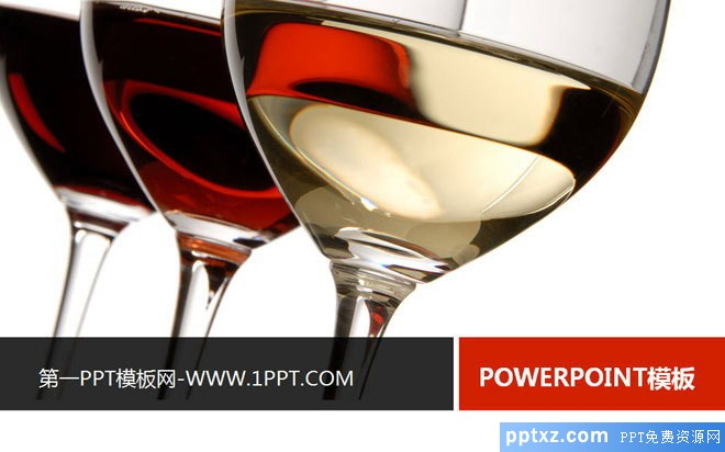 红酒与高脚杯组合的餐饮美食幻灯片模板