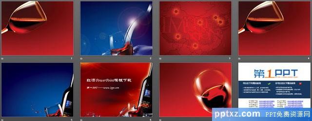 红酒背景的酒文化幻灯片模板下载