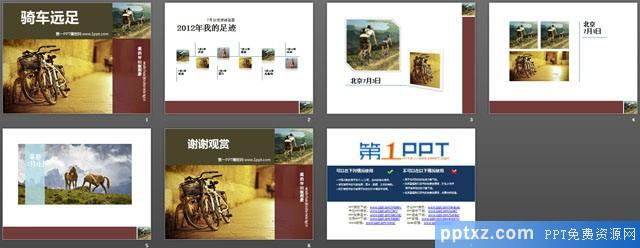 骑行者旅行相册<a href=http://www.pptxz.com target=_blank class=infotextkey>PPT模板</a>模板下载