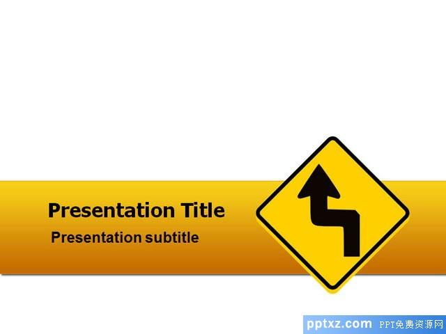 黄色交通警示PowerPoint模板免费下载