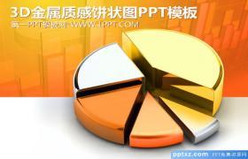 金色3D饼状图背景的数据分析PPT模板下载