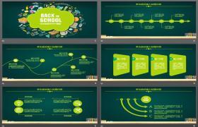 带绿色卡通图标背景的教育培训PPT模板下载
