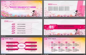 粉色时尚美容行业PPT模板下载