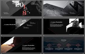 欧美音乐黑白个性PPT模板下载