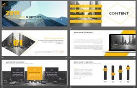 具有欧美商业建筑背景的商业PPT模板下载
