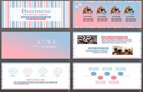 蓝色和粉色背景的新鲜时尚PPT模板下载