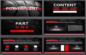黑色和红色篮球背景NBA主题PPT模板下载