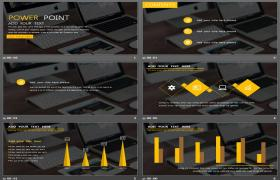 欧美地区办公桌面背景的商业PPT模板下载