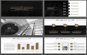 欧美商务黑色大全稳定式PPT模板下载