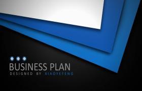 蓝黑创意三维纹理金属商业PPT模板下载