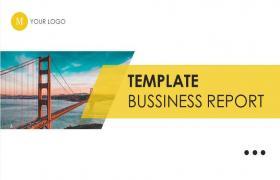 黄色扁平杂志式商业PPT模板下载
