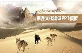 沙漠狼群背景下的狼公司团队文化PPT模板下载