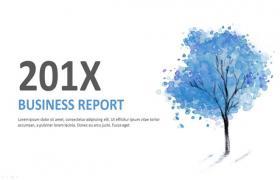 蓝色水墨画小树背景艺术PPT模板免费下载