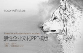 创意黑白素描风格狼企业文化建设 PPT模板