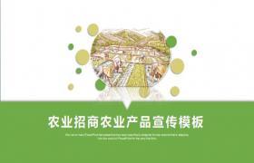稻田插图背景产品推广 PPT 模板
