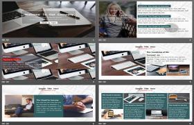 欧美地区办公桌面背景PPT模板下载