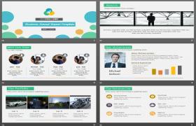 免费下载带彩色点背景的欧美商务幻灯片模板