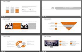 橙色简单曲线背景工作报告PPT模板下载