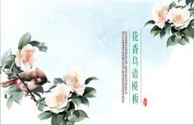 中国画背景中的花鸟语言PPT模板